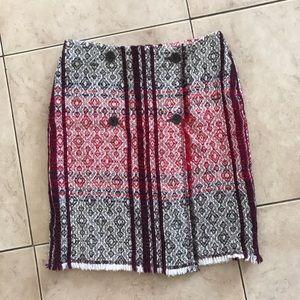 Escada Sport Red Wine Ivory Wool Tweed Skirt 36 6